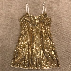 Intimately Free People Gold Sequin Sheer SlipDress